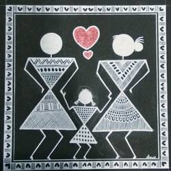 Warli Painting Love story size - 6x6In - 6x6