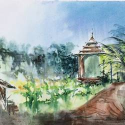 Nature Painting - A Temple in the Green.. size - 26x18In - 26x18