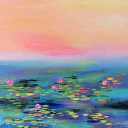 Love for Lilies !! Abstract Painting !! size - 12x12In - 12x12