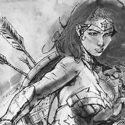 Pop-art of Wonder Woman from DC in charcoal, pencils and ink on large Fabriano paper size - 18x12In - 18x12