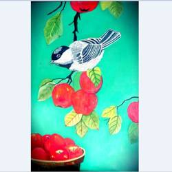 Birds with Fruits size - 15x22In - 15x22