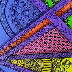 Zentangle Painting size - 12x24In - 12x24