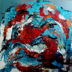 Acrylic abstract Red and Blue size - 36x36In - 36x36
