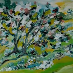 Tree in Green Gold Landscape size - 12x16In - 12x16