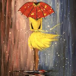 Girl in the rain size - 24x18In - 24x18