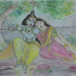 Radha krishna size - 10x6.5In - 10x6.5