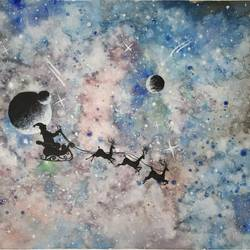 cosmic beauty with Santa Claus  size - 15x11In - 15x11