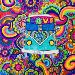 Colourful bus ride size - 12x15In - 12x15
