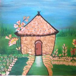 """A hut in a field "" size - 16x12In - 16x12"