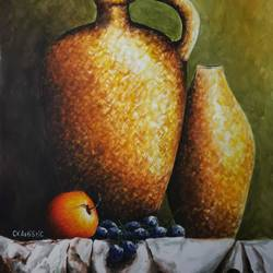 still life apple, surahi and grapes size - 17x23In - 17x23