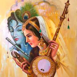 radha krishna;two body one soul size - 24x36In - 24x36
