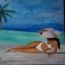 Lady on beach size - 20x16In - 20x16