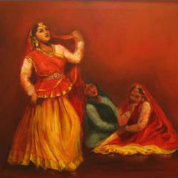 Radha Krishna's Gopis dancing - Indian Kathak Dancers size - 30x24In - 30x24