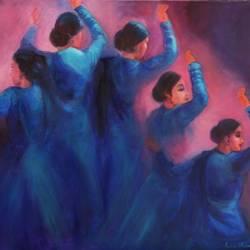 Krishna's Gopis dancing - Indian Kathak Dancers size - 30x24In - 30x24