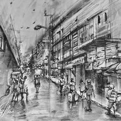Wet after the rain- Burrabazaar- Kolkata in charcoal, pencils and ink size - 18x16.5In - 18x16.5