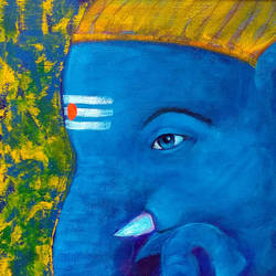 Blue Ganesha Painting Framed size - 10x12In - 10x12