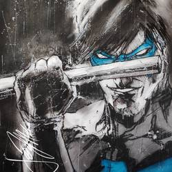 Pop art- of Nightwing...in ink, charcoal and pencils size - 11.69x16.5In - 11.69x16.5