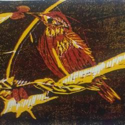 bird in lino size - 8.3x11.6In - 8.3x11.6