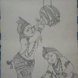 Krishna makhan chor size - 8x11In - 8x11
