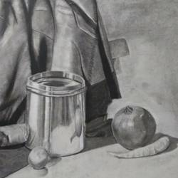 Still life in charcoal and pencil size - 11.6x16.5In - 11.6x16.5