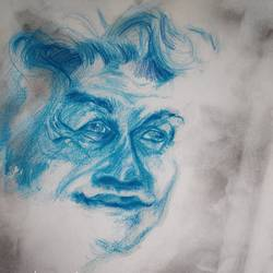 """Ramkinkar's portrait in charcoal...pencils"" size - 11.69x16.53In - 11.69x16.53"