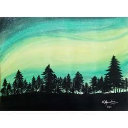 Glittery night size - 11x9In - 11x9