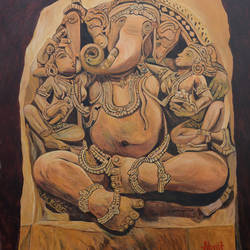 Ridhi, Sidhi and Ganesha size - 36x48In - 36x48