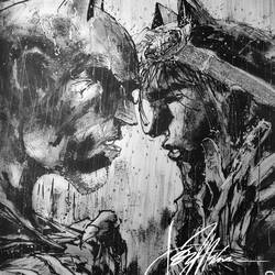 Pop art- of Batman and Selina...in ink, charcoal and pencils size - 11.69x16.53In - 11.69x16.53
