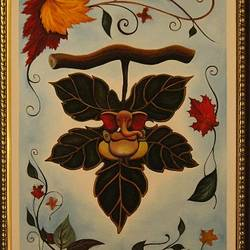Ganesha on a leaf of faith size - 20x30In - 20x30