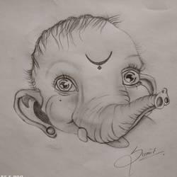 Religious Sketch ( Baby Ganesha) size - 210x297In - 210x297