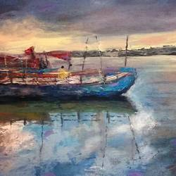 Boats at the bank of yamuna river in Vrindavan size - 27x19In - 27x19