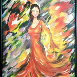 """""""The Lass"""" with vibrant colours (Framed) size - 38x25In - 38x25"""