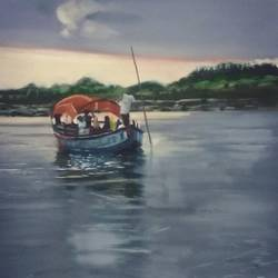 Floating boat in yamuna river. size - 19x27In - 19x27