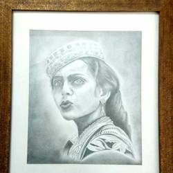 """Mademoiselle"" sketch with many shades of pencil , protected by glass ( Framed) size - 14x16In - 14x16"