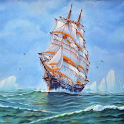 Ship Sailing size - 24x18In - 24x18