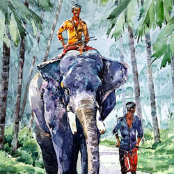 ELEPHANT WALK size - 15x21In - 15x21