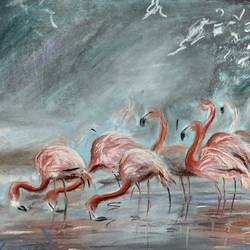 Flamingoes in lake size - 16x12In - 16x12