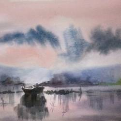 Boat at yamuna river. size - 16x12In - 16x12