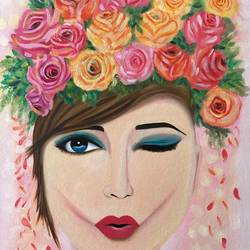 Girl with roses !! size - 18x24In - 18x24