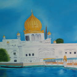 Golden Temple size - 36x30In - 36x30