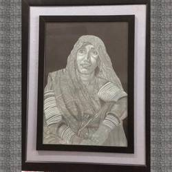 Old Indian traditional lady size - 18x24In - 18x24