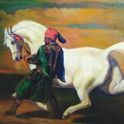 A horse with man  size - 36x24In - 36x24