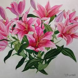 Lillies Watercolour size - 17x17In - 17x17
