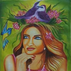 Beautiful nightingale  size - 18x24In - 18x24