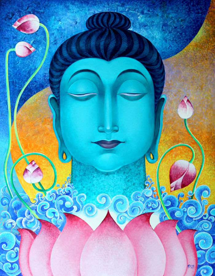 way to peace, 28 x 36 inch, raji p,buddha paintings,figurative paintings,paintings for dining room,paintings for living room,paintings for bedroom,paintings for office,paintings for kids room,paintings for hotel,paintings for school,paintings for hospital,canvas,acrylic color,28x36inch,peace,meditation,meditating,blur,lotus,waves,blessing,gautam,goutam,religious,GAL059018980,peace,lordbuddha,inner,lordface,lotus,gautaum,way to peace size - 28x36in,ADR959018980