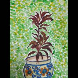 Plant pot painiting.  size - 12x16.5 In - 12x16.5