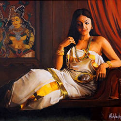 Lady with Valkannadi - Acrylic Painting in a traditional look size - 24x36In - 24x36