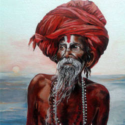 Aghori - Acrylic Painting on Canvas size - 11.8x16.14In - 11.8x16.14