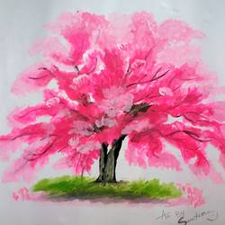 Beautiful Autumn Tree Painting size - 14x12In - 14x12