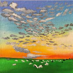 Grazing Cows size - 6x6In - 6x6
